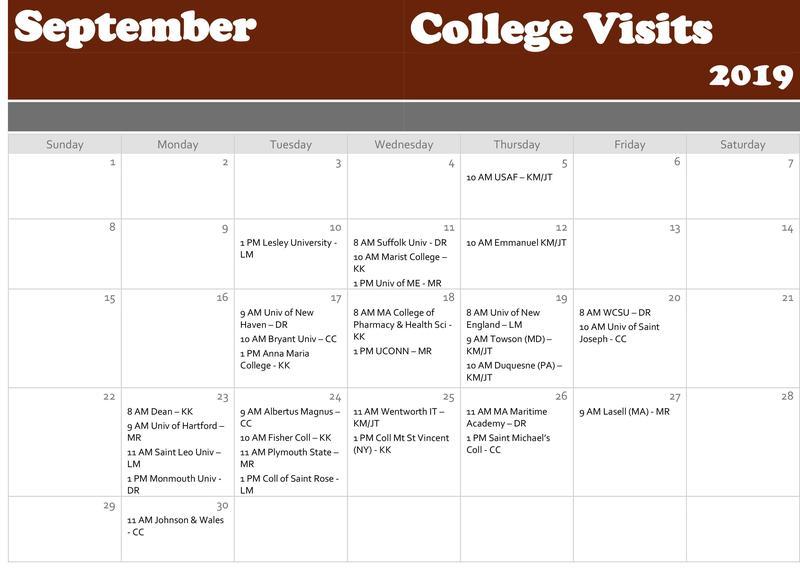 College visit calendar