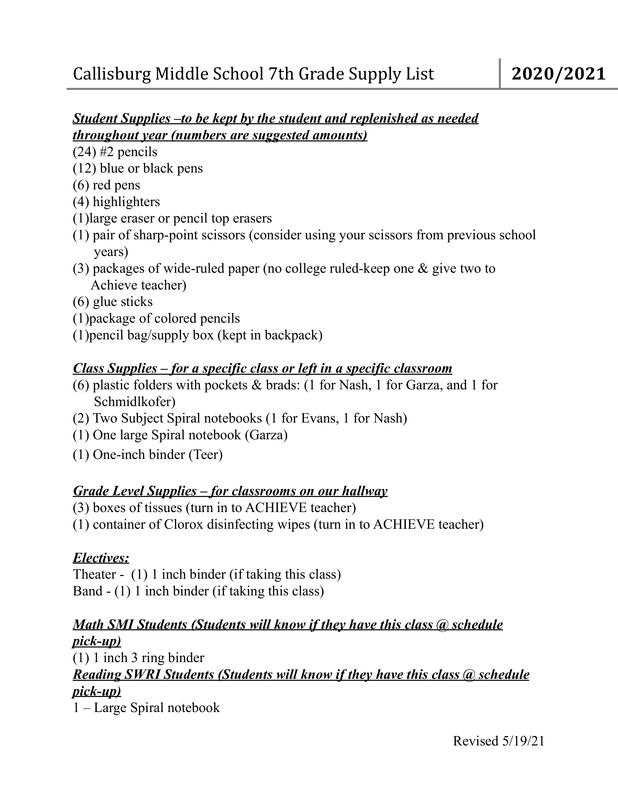 7th Grade School Supply List