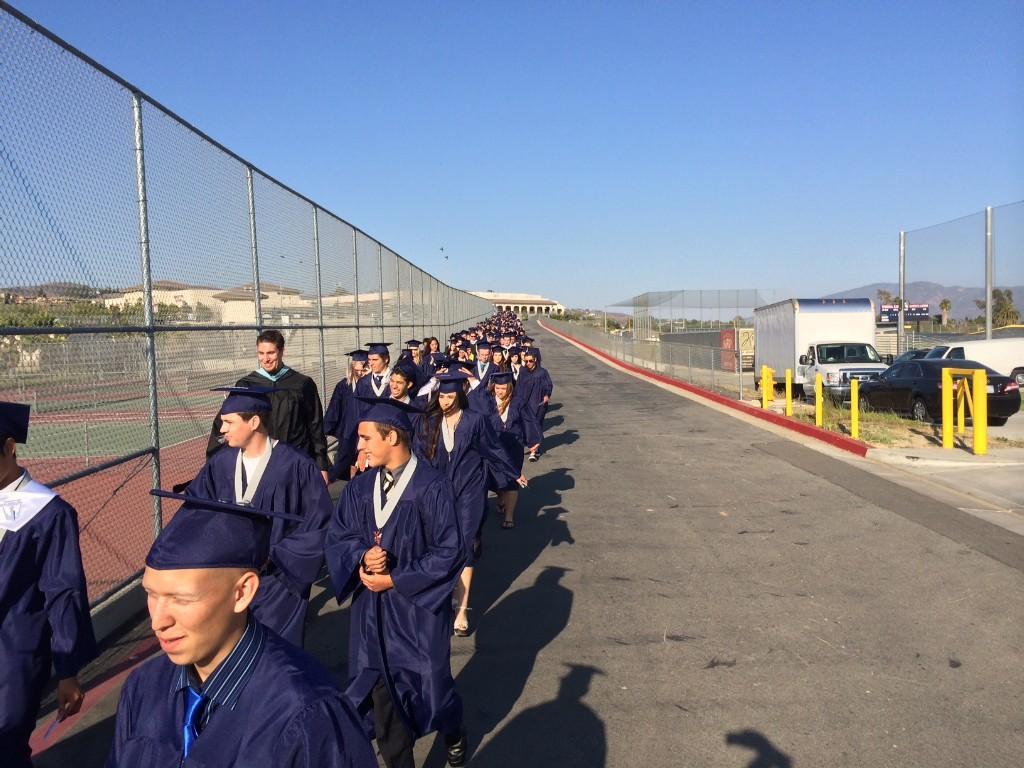 Students entering the stadium