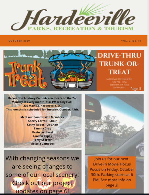 Hardeeville Parks, Recreation, and Tourism October 2020 Newsletter Featured Photo