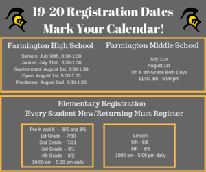 Registration Dates 2019-2020