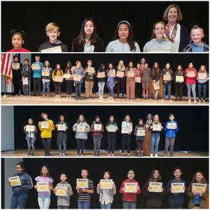6th and 7th grade Student of the month and accelerated reading winners