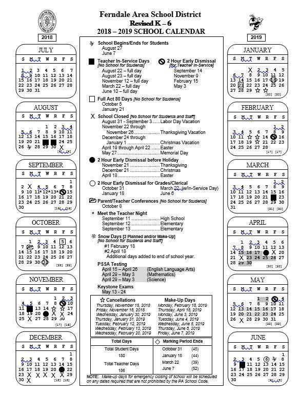 2018 - 2019 K-6 Revised School Calendar