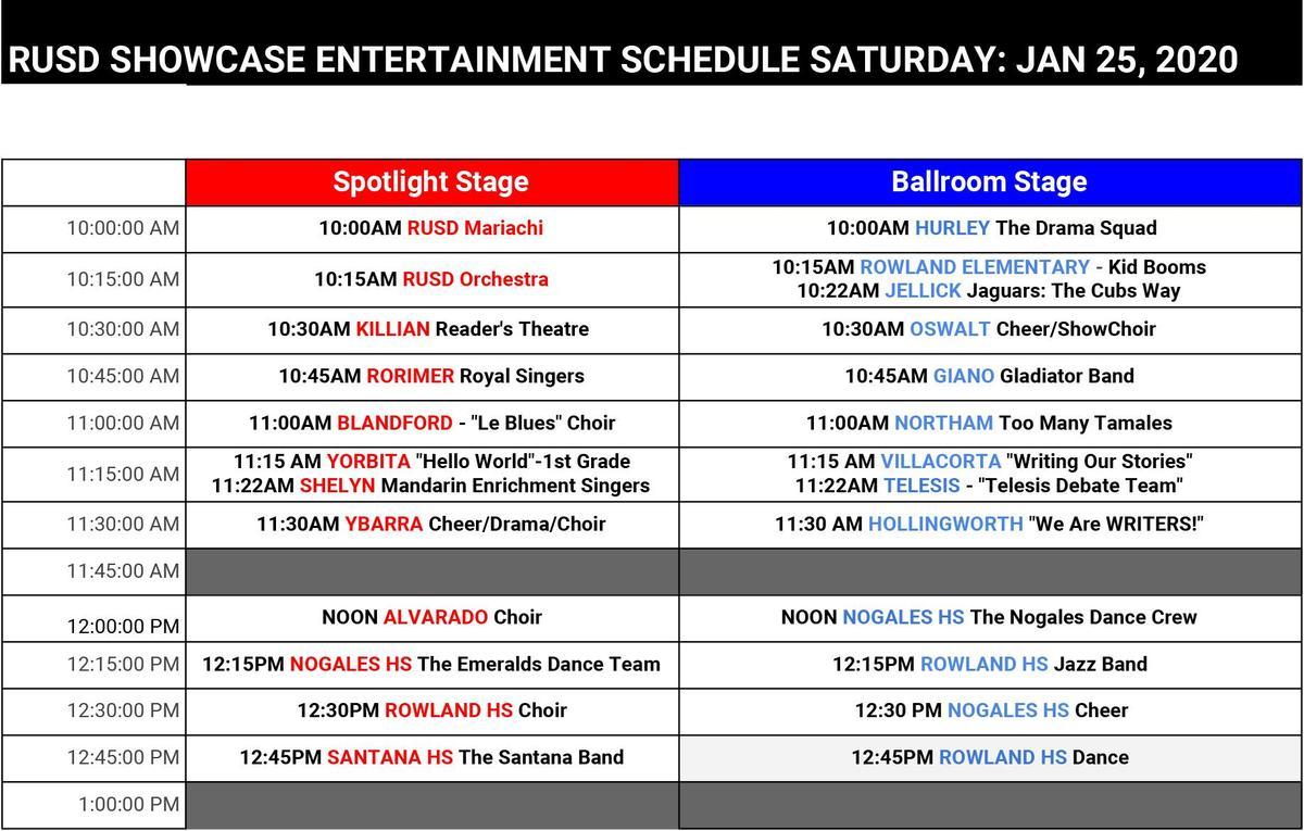 Showcase Entertainment Schedule