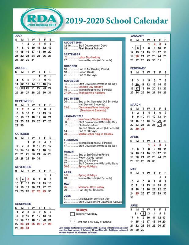 RDA Releases 2019-2020 Calendar Featured Photo