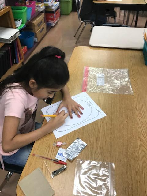Second grade student writing on a graphic organizer