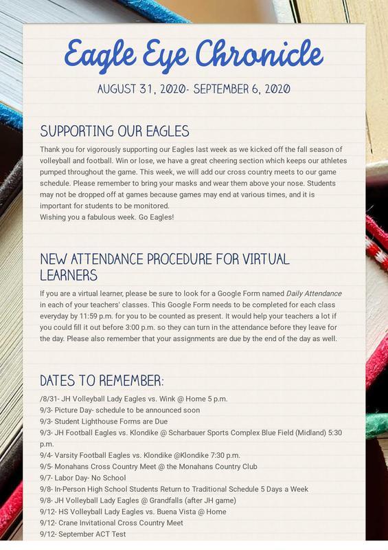 Week of Aug. 31st Eagle Eye Chronicle P1.jpg