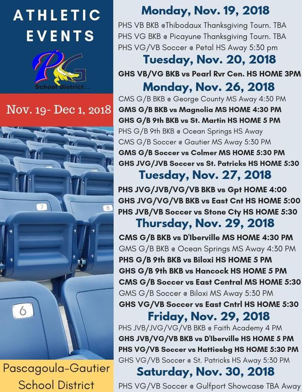 Athletic Events for Weeks of Nov. 19 - Dec. 1, 2018