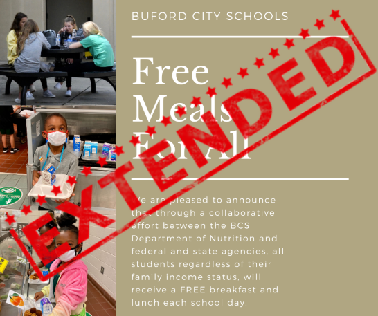 Free breakfast and lunch for all students has been extended through the remainder of the school year!