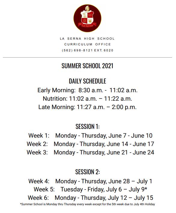 Summer School Schedule