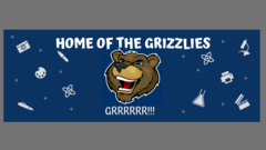 A banner with a blue background and white school supplies. There is the Granite Pointe Grizzly Mascot in the middle, with the words