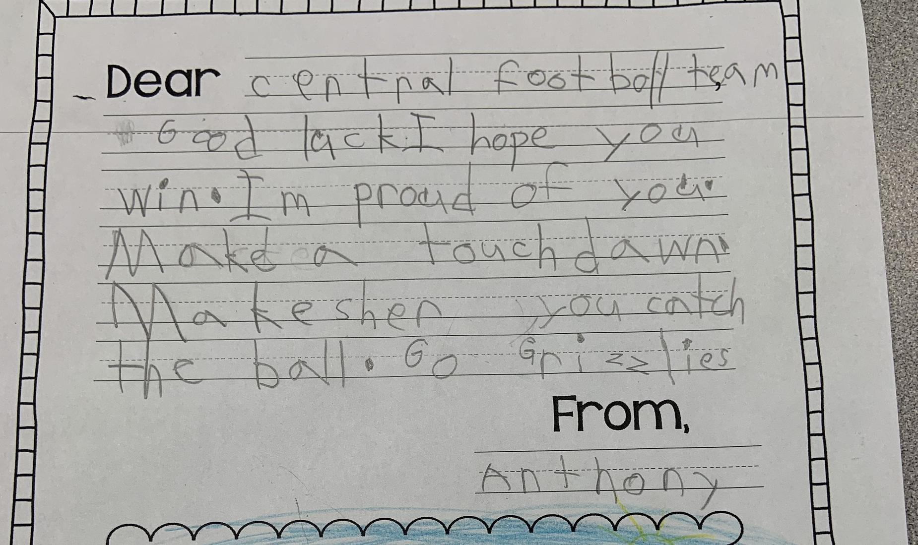 A good luck letter to the Central High football team from a student at Steinbeck