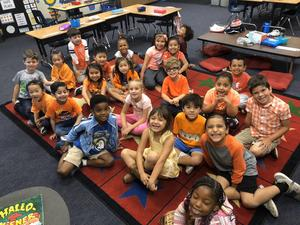 Armstrong Elementary Kindergarten students wear orange to support bullying awareness! #proud2bepusd #ArmstrongElementary