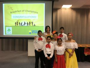 Folklorico Club students with Principal Herbstreith