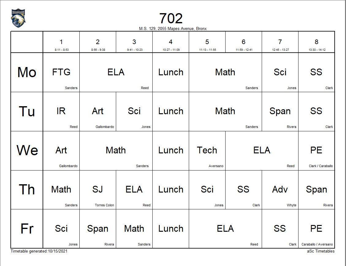 702 class schedule