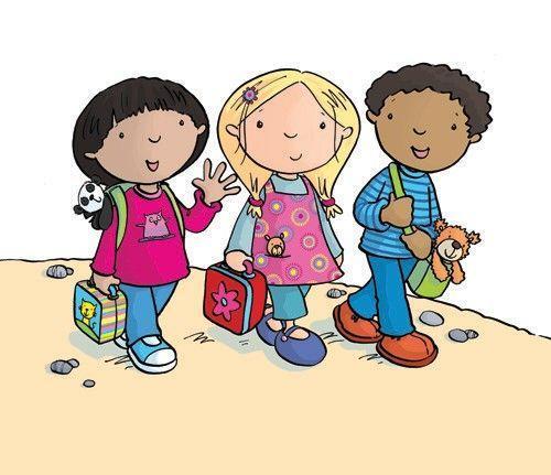 Clip art of new kids walking to school