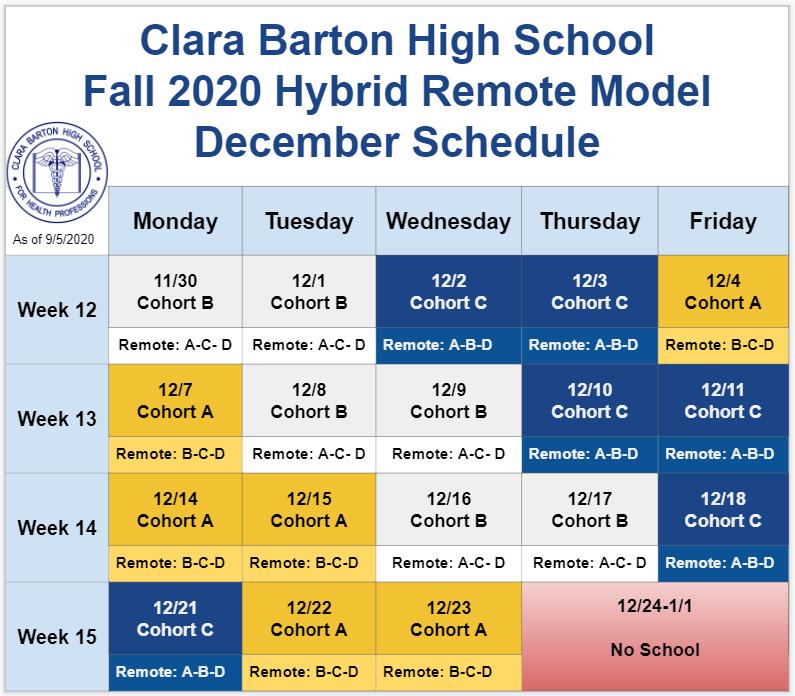 December 2020 Hybrid Schedule