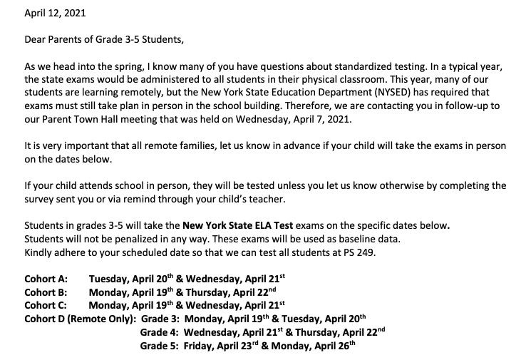 NYS ELA Test Parent Letter Featured Photo