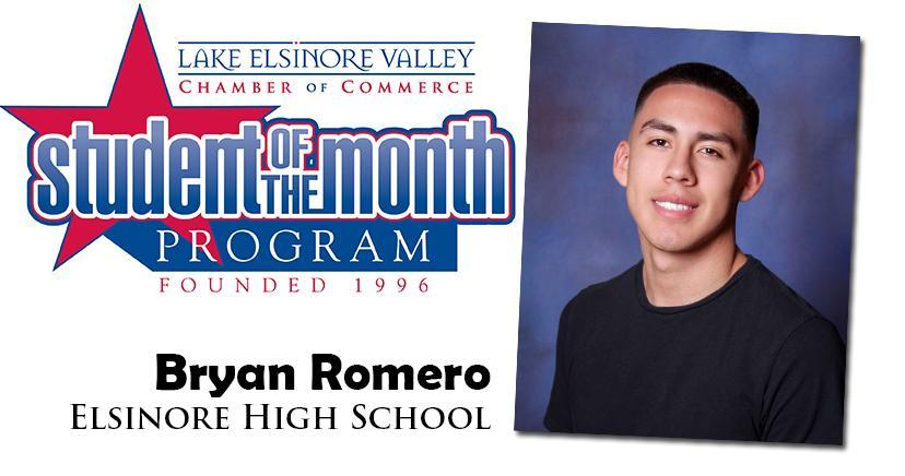 Bryan Romero, Elsinore HS, is one of our Student of the Month Program honorees for December. Congratulations!