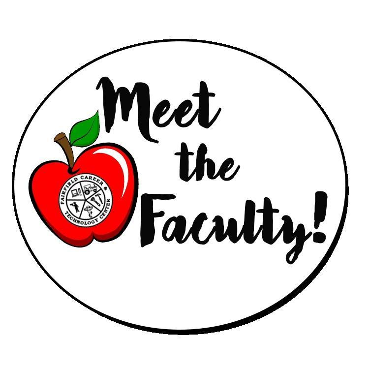 "An apple with the school logo with the words ""Meet the Faculty""."