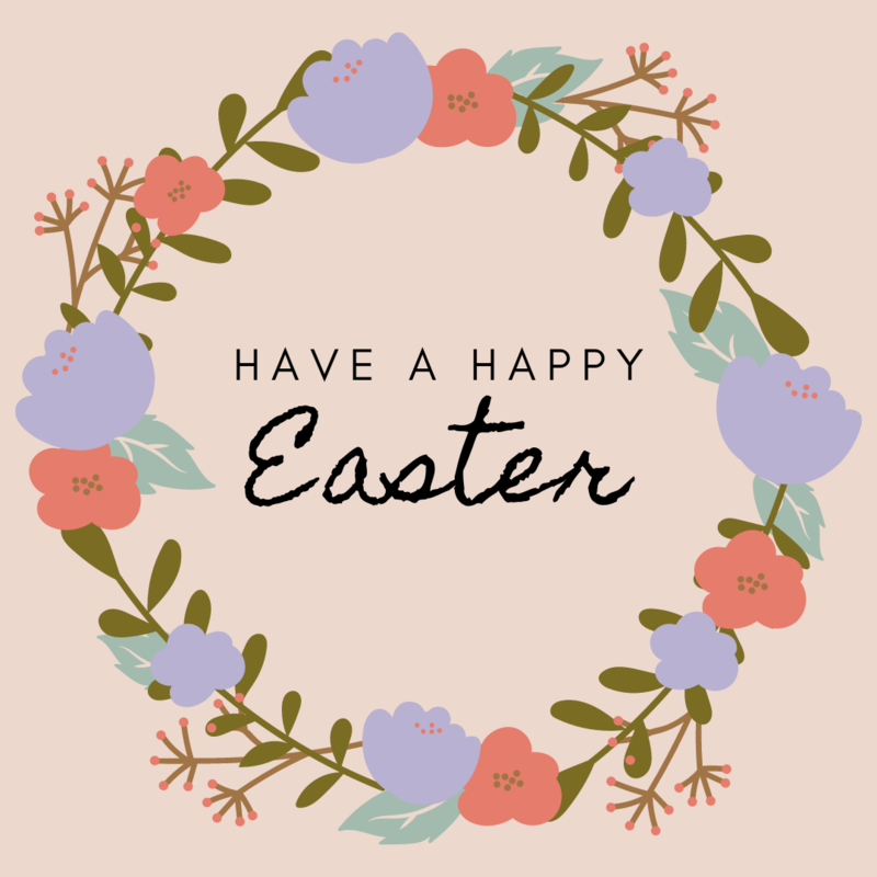 Have a Happy Easter; spring wreath with flowers
