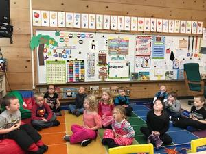 Mrs. Twitchell's Kindergarteners are learning to use breathing techniques along with mindfulness.