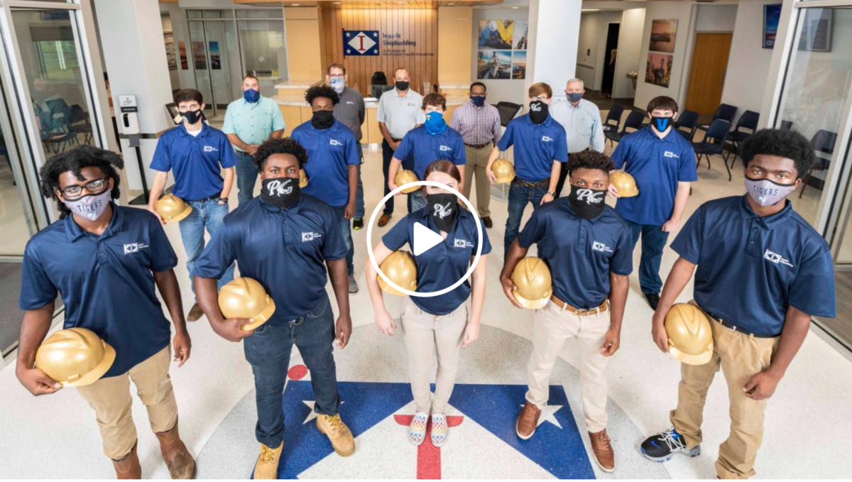 Students with hard hats