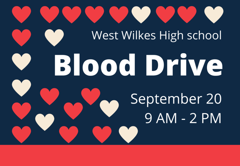 Red and pink hearts with the words blood drive September 20