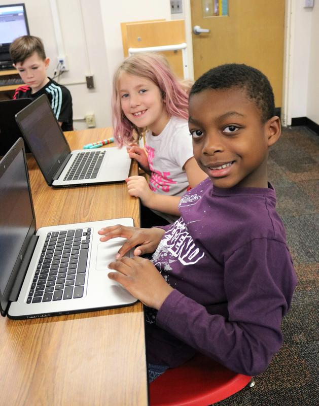Third graders try their hands at coding during Hour of Code activities at Tamaques School on Dec. 7.
