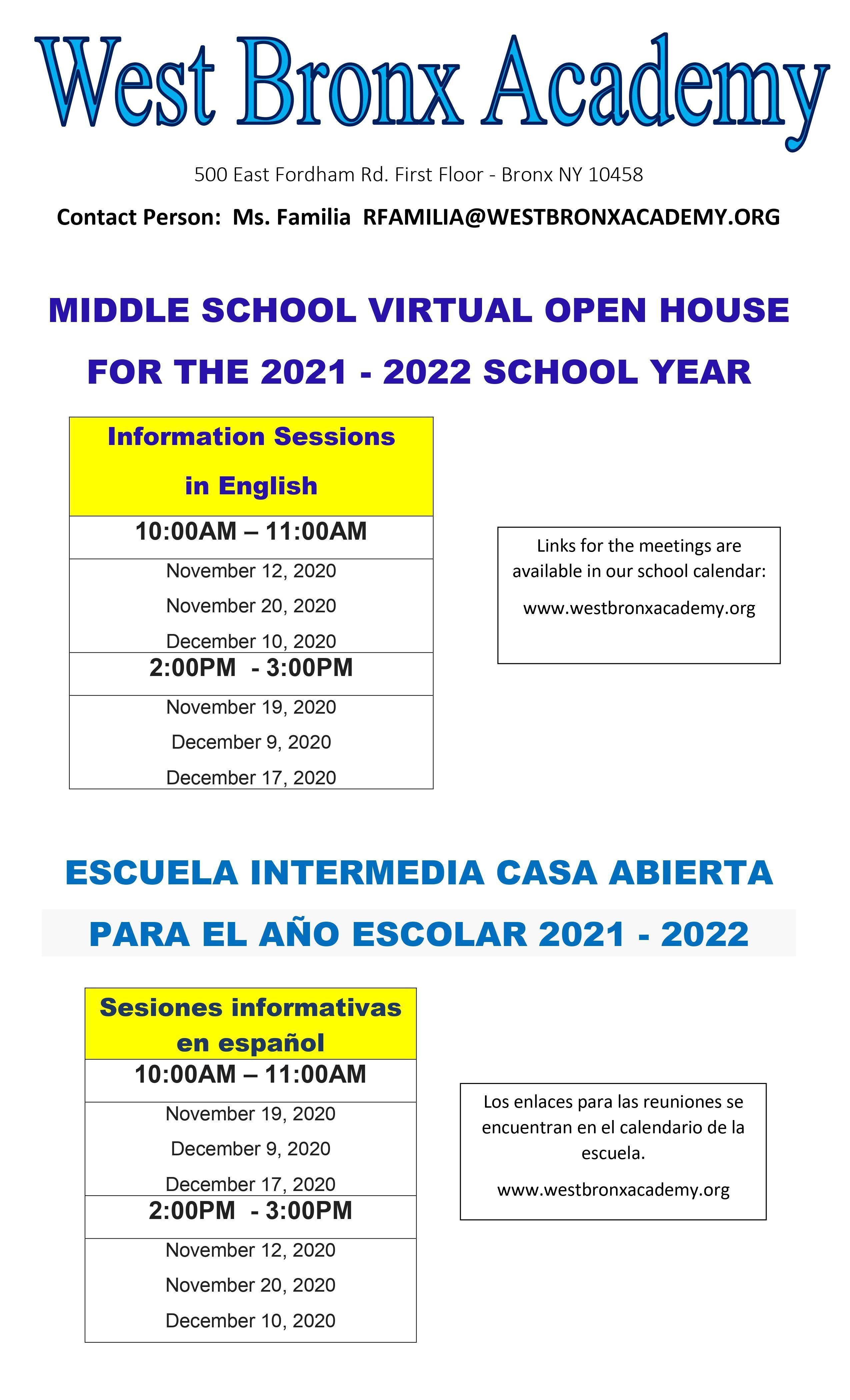 Fordham Academic Calendar 2021-2022 West Bronx Academy For The Future