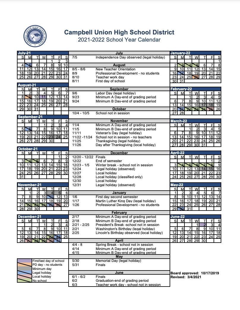 screenshot of academic calendar for 2021-2022 school year