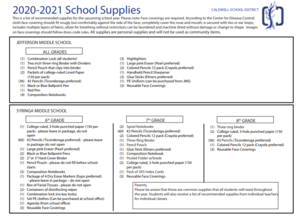 Middle School Supply Lists
