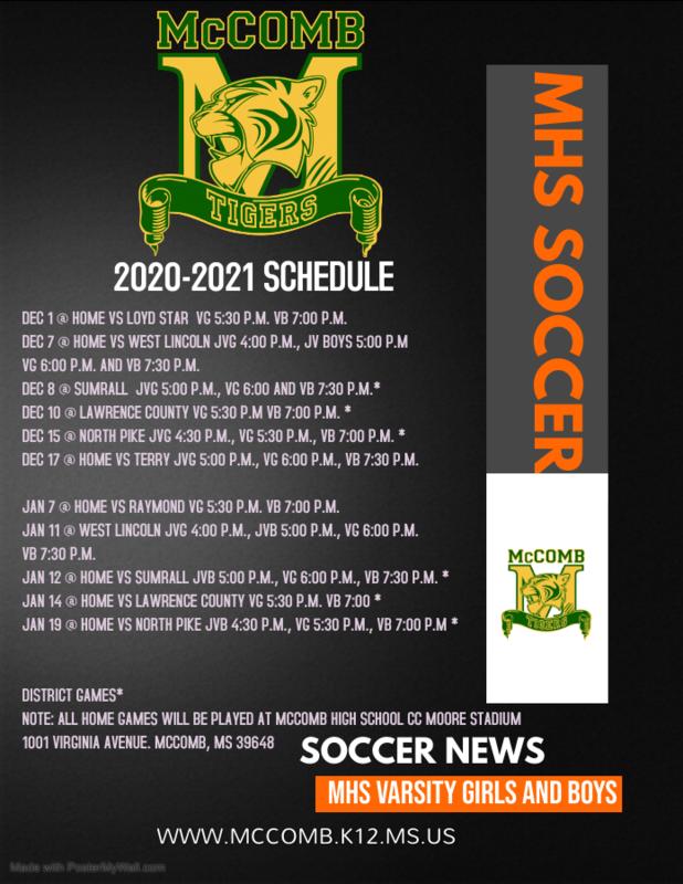 McComb High School Girls and Boys Junior Varsity and Varsity Soccer Schedule 2020-2021