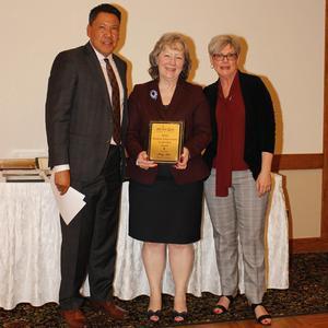 Superintendent Imler receiving WASA Student Achievement Award