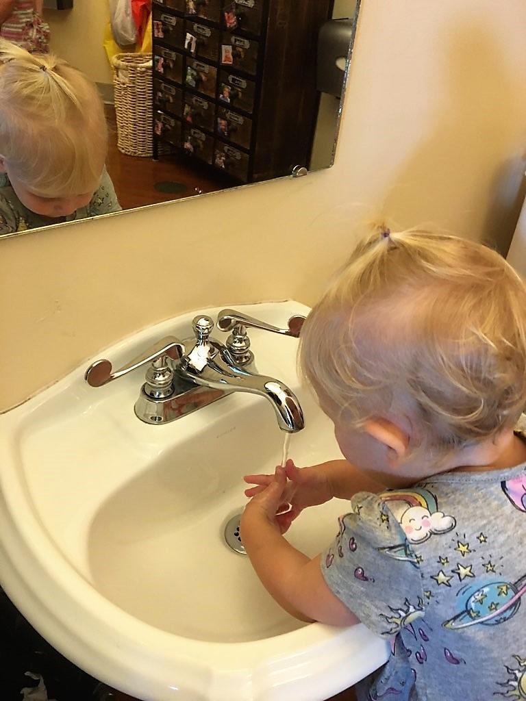 Baby washing hands