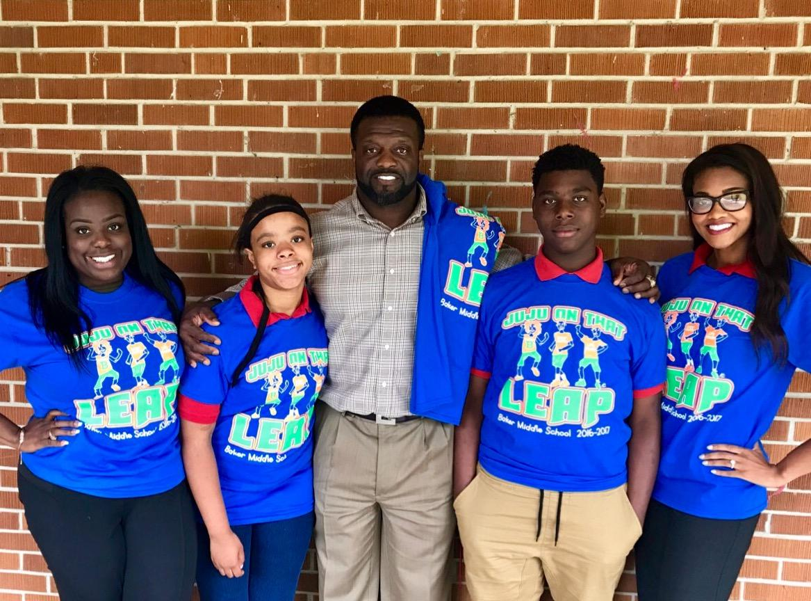 Photo of Group Wearing the newly designed Baker Middle LEAP TShirt
