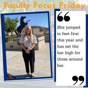 Ronee Watson in front of the mustang statue with the Faculty Focus Friday boarder around the picture.