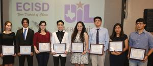 Edinburg Rotary Club recognizes Edinburg CISD's UIL Academics Program at the Echo Hotel in Edinburg. Pictured L-R: Vela High School senior Clarissa Enriquez, Vela High School senior Isaiah Segovia, Economedes High School senior Ximena Garcia, Economedes High School senior Omar Lopez, Edinburg North High School senior Melina Garcia, Edinburg North High School senior Frando Escamilla, Edinburg High School senior Yesenia Mora and Edinburg High School senior Juan C. Rodriguez.
