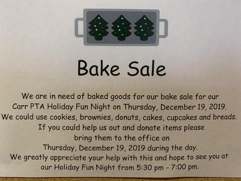 Bake Sale for Holiday Social Thumbnail Image