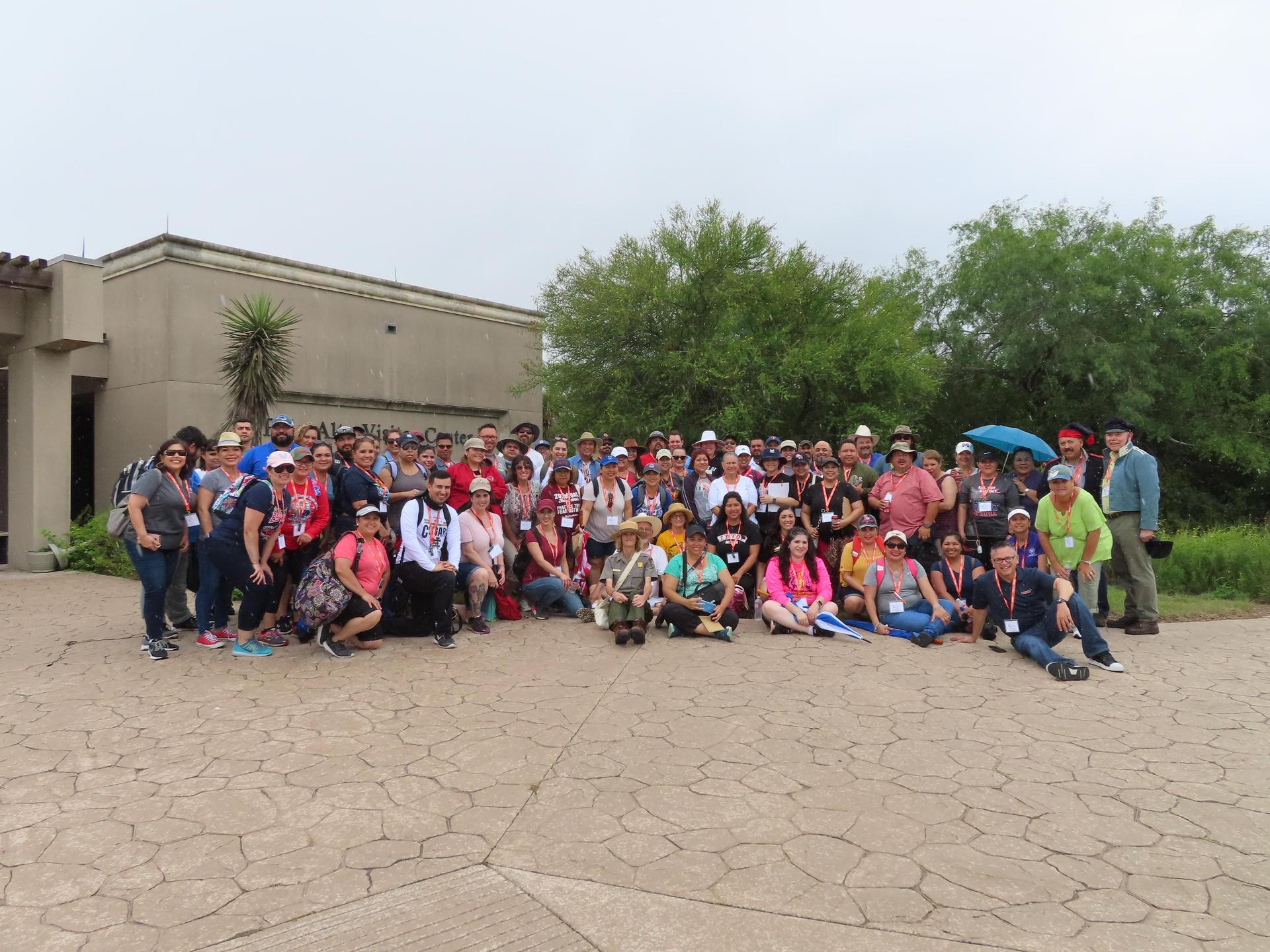 Group photo in front of the parks building