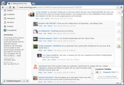 Discussion contributions in a threaded-post layout.
