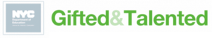 new york city department of education logo with gifted and talented written in green lettering on a white background