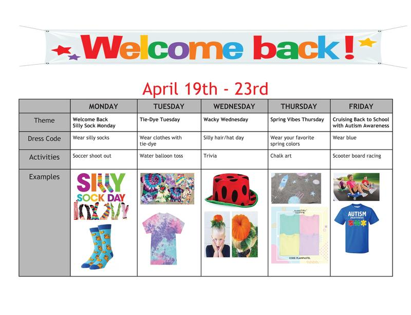 WELCOME BACK WEEK DRESS SCHEDULE