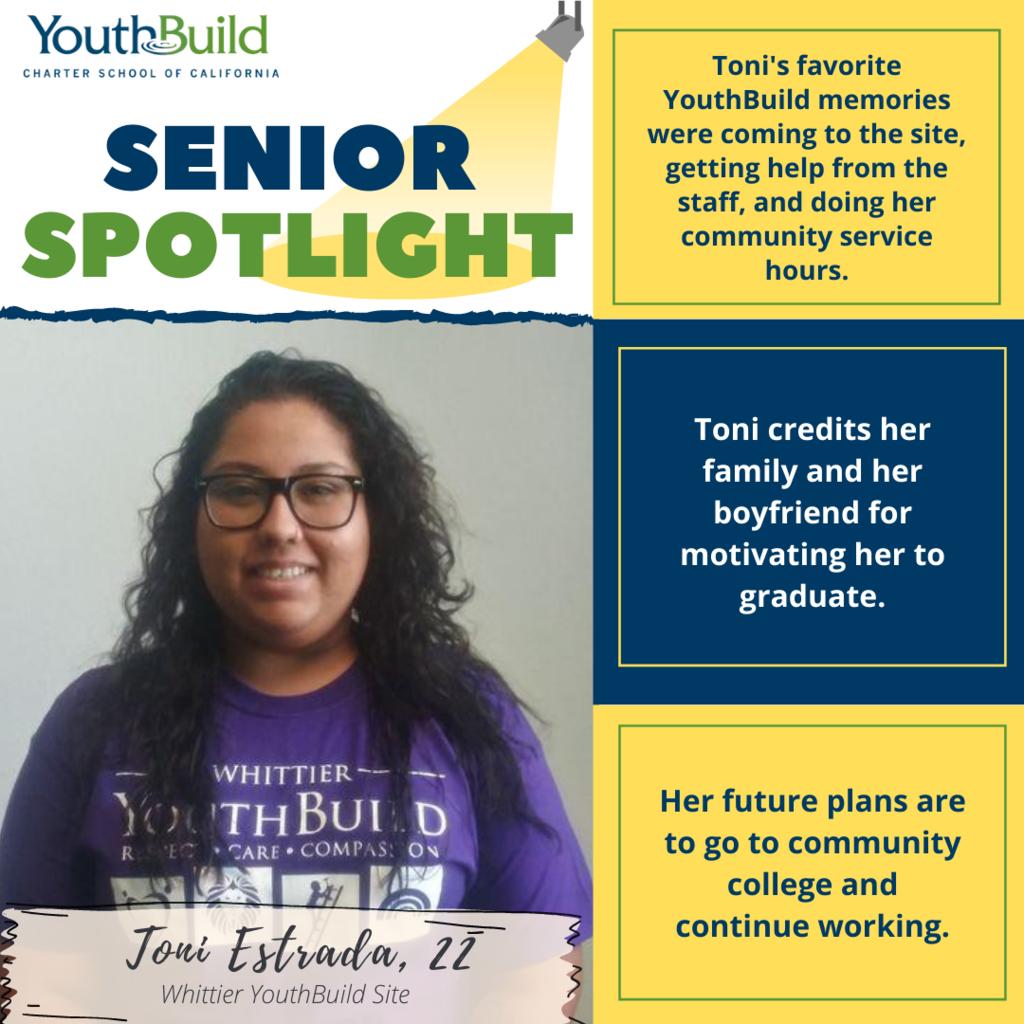 Senior Spotlight for graduate Toni Estrada