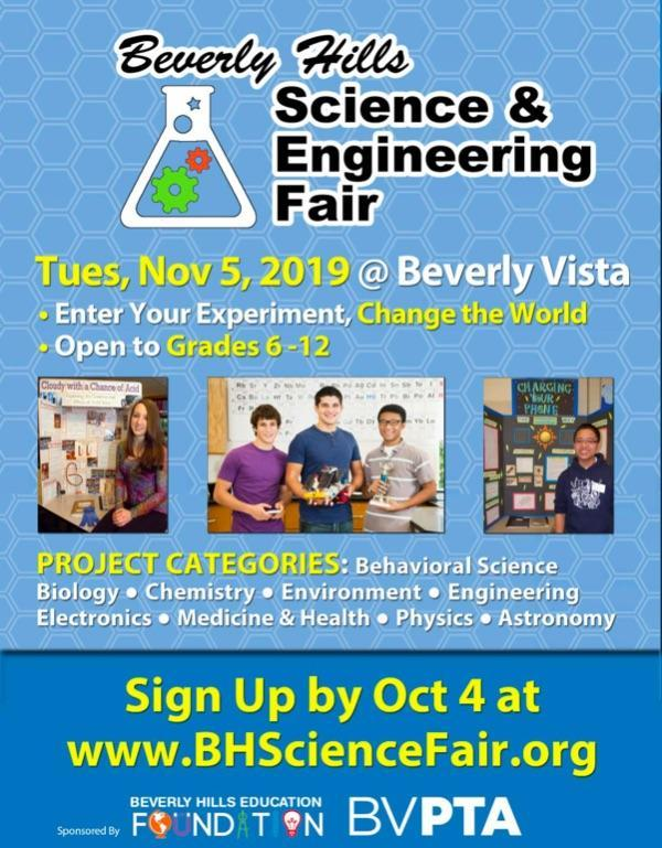 Sign up for the Beverly Hills Science Fair (Grades 6-12) by Oct 7 Featured Photo