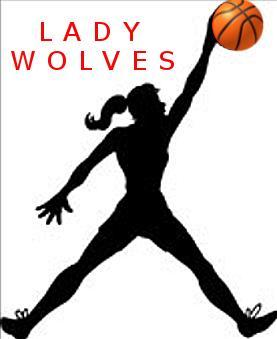 Lady Wolf shadow player with basketball held high in one hand