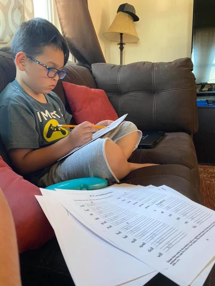 Student studying at home
