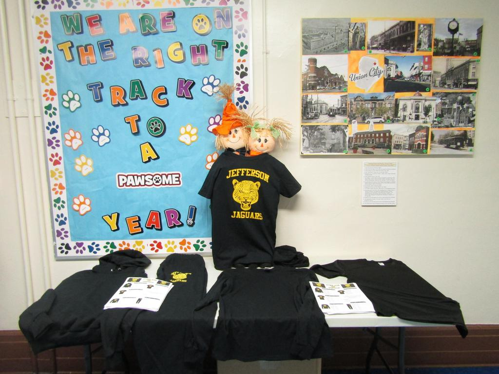 jefferson school tshirt and spirit gear on display