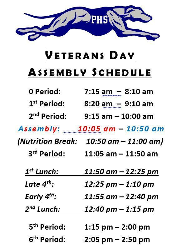 For your Reference: Veterans Day Assembly Schedule Thumbnail Image
