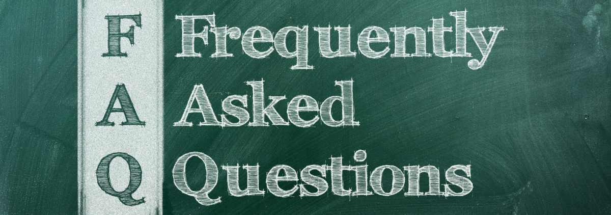 chalkboard with frequently asked questions written